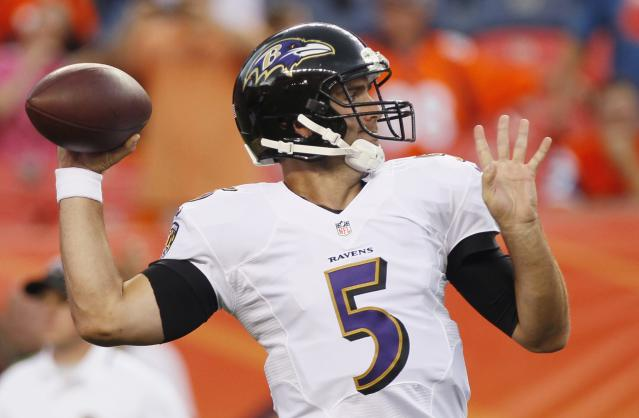 Baltimore Ravens quarterback Joe Flacco throws during warm ups on the field before their NFL football game against the Denver Broncos in Denver September 5, 2013. REUTERS/Rick Wilking (UNITED STATES - Tags: SPORT FOOTBALL)