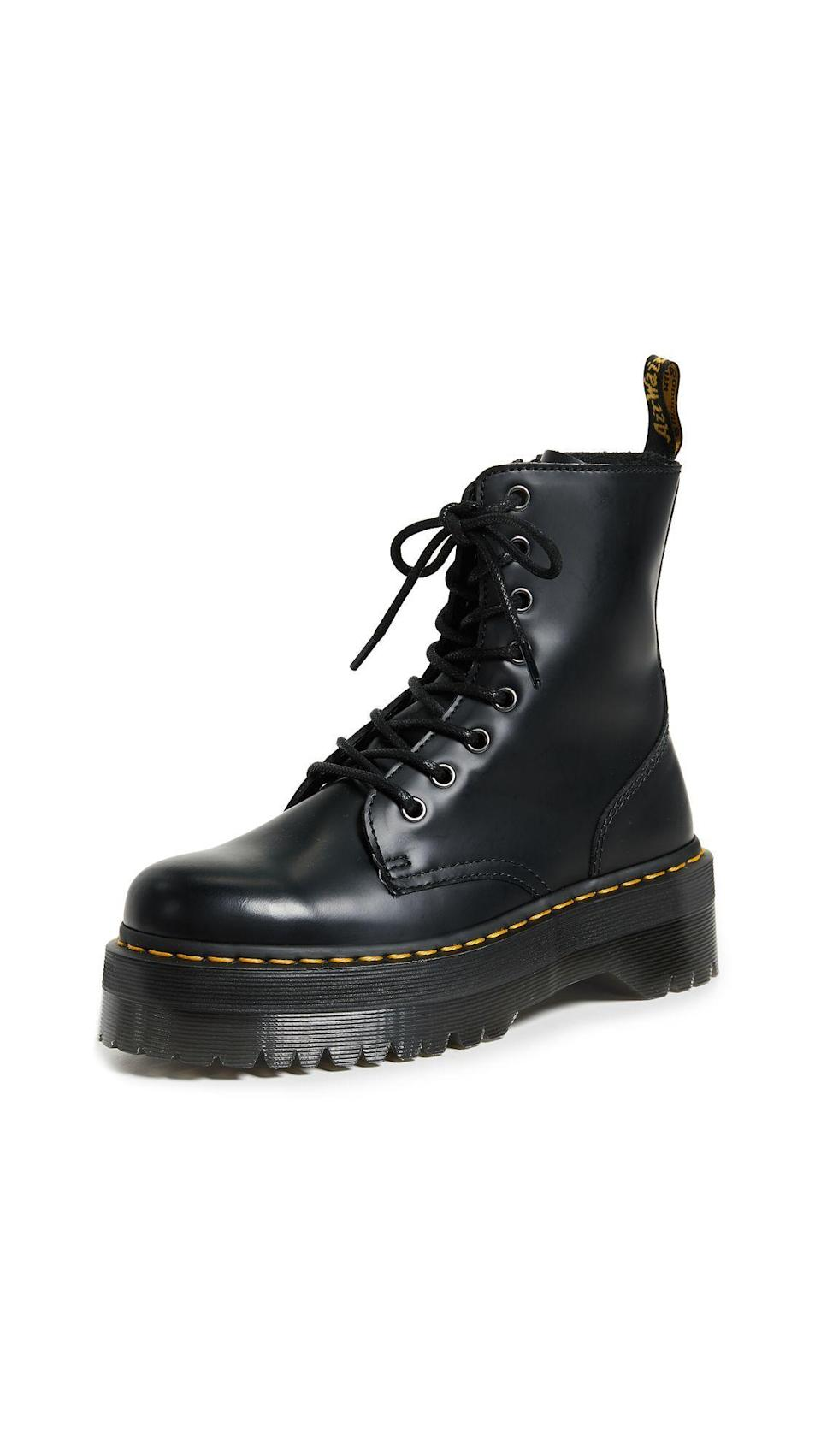 """<p><strong>Dr. Martens</strong></p><p>shopbop.com</p><p><strong>$180.00</strong></p><p><a href=""""https://go.redirectingat.com?id=74968X1596630&url=https%3A%2F%2Fwww.shopbop.com%2Fjadon-eye-boot-dr-martens%2Fvp%2Fv%3D1%2F1581892947.htm&sref=https%3A%2F%2Fwww.harpersbazaar.com%2Ffashion%2Ftrends%2Fg7958%2Fhow-to-wear-ankle-boots%2F"""" rel=""""nofollow noopener"""" target=""""_blank"""" data-ylk=""""slk:Shop Now"""" class=""""link rapid-noclick-resp"""">Shop Now</a></p><p>One of the most classic combat styles, Doc Martens add a little edge to even the most feminine and girliest of dresses. </p>"""