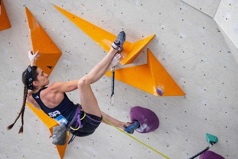 """<p><strong>Age: </strong>25</p><p><strong>Hometown: </strong>St. Paul, MN</p><p><strong>Event: </strong>Sport-climbing</p><p>Kyra, who's set to make history in a few weeks as one of <a href=""""https://www.delish.com/food/a36876159/climber-kyra-condie-tokyo-olympics-diet/"""" rel=""""nofollow noopener"""" target=""""_blank"""" data-ylk=""""slk:the first Olympic sport-climbers"""" class=""""link rapid-noclick-resp"""">the first Olympic sport-climbers</a> is a longtime vegetarian. She cooks most of her meals herself so as to know what's in them, but interestingly, she tells Delish she doesn't really change her intake whether she's gearing up for competition or not. In fact, she says, she tries """"not to alter my food intake at all really.""""</p>"""