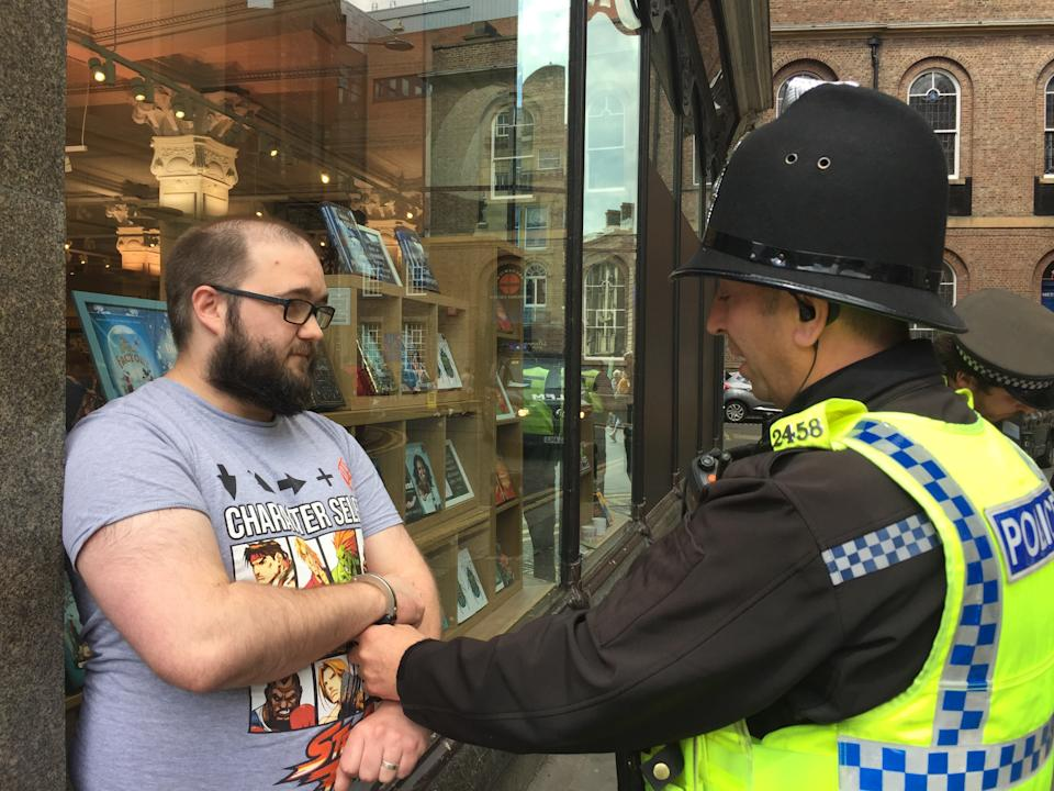 Mr Crowther is arrested in Newcastle on May 20th after the milkshake incident. (PA)
