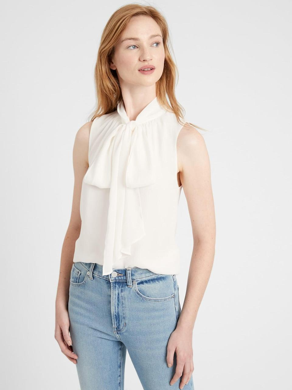 """<p>The <span>Banana Republic Tie-Neck Blouse</span> ($80) is a <a href=""""https://www.popsugar.com/fashion/photo-gallery/19163066/image/19163491/pussy-bow-blouse-must-have-comes-versatile"""" class=""""link rapid-noclick-resp"""" rel=""""nofollow noopener"""" target=""""_blank"""" data-ylk=""""slk:wardrobe staple"""">wardrobe staple</a> that you'll wear time and time again. </p>"""
