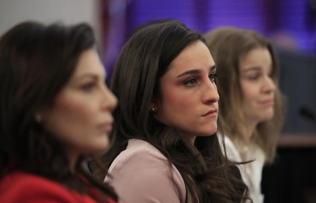 From left, gymnast and Olympic bronze medalist Jamie Dantzscher, with fellow gymnast and Olympic gold medalist Jordyn Wieber and speedskater Bridie Farrell, testify in Washington about Olympic abuse. (AP)