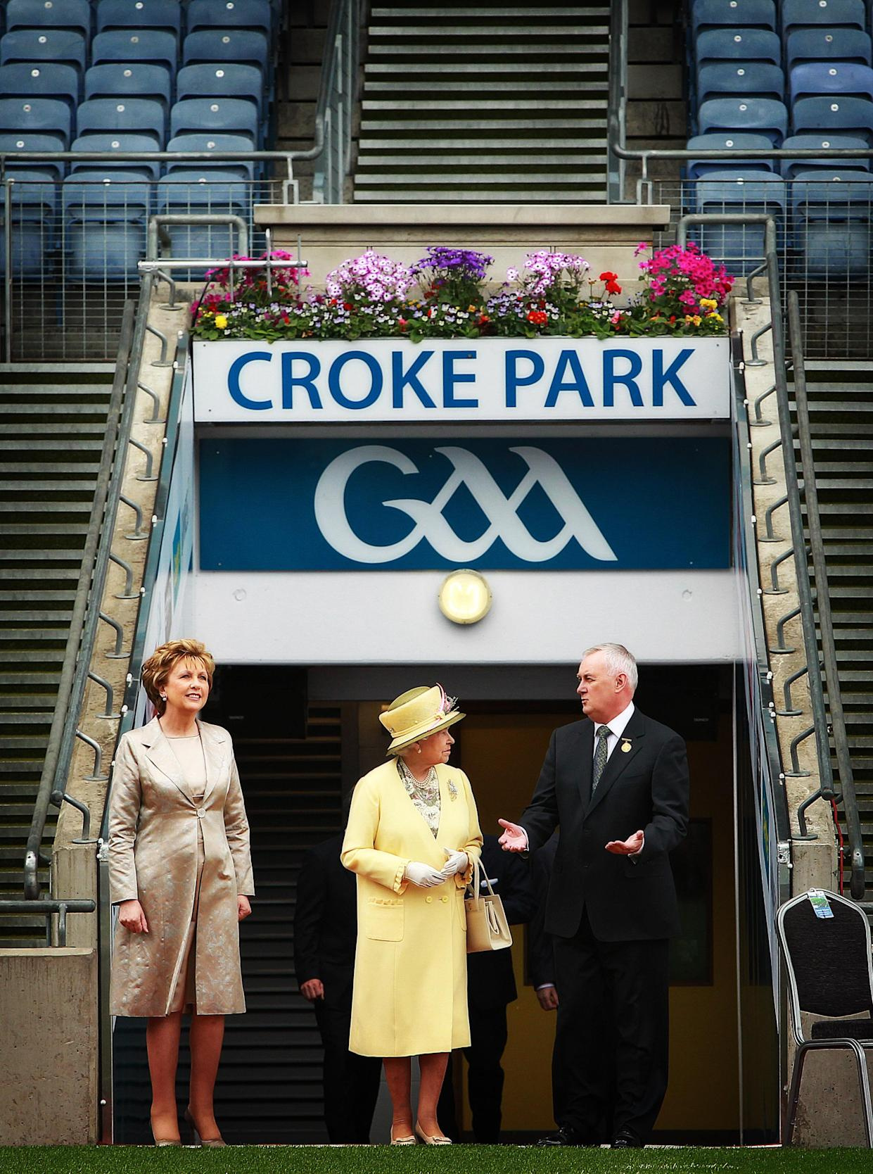 (Left - right) President of the Irish Republic Mary McAleese, Queen Elizabeth II and GAA President Christy Cooney at Croke Park, Dublin, during the second day of her State Visit to Ireland.Picture date: Wednesday May 18, 2011. See PA story IRISH Queen.   (Photo by Julien Behal/PA Images via Getty Images)