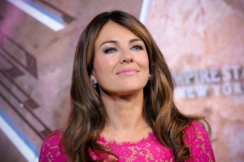 THE EMPIRE STATE BUILDING, NEW YORK CITY, NY, UNITED STATES - 2019/10/01: Elizabeth Hurley attends a lighting ceremony in honor of Estee Lauder Company's 2019 Breast Cancer Campaign, held at the Empire State Building in New York City. (Photo by Efren Landaos/SOPA Images/LightRocket via Getty Images)