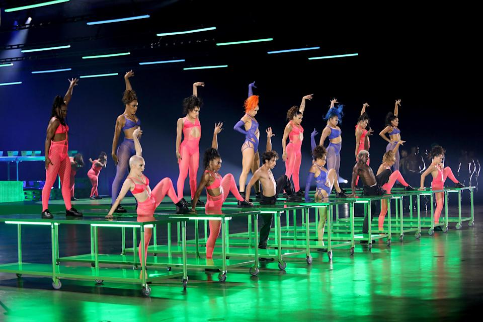 In this image released on October 2, dancers perform onstage during Rihanna's Savage X Fenty Show Vol. 2 presented by Amazon Prime Video at the Los Angeles Convention Center in Los Angeles, California; and broadcast on October 2, 2020. / Credit: Jerritt Clark