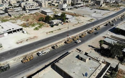 The Assad regime condemned the Turkish convoy - Credit: OMAR HAJ KADOUR/AFP/Getty Images