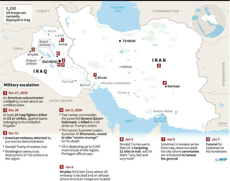 Map of Iran and Iraq showing latest developments in military escalation in which Iranian General Qasem Soleimani was killed in a US strike on the orders of Donald Trump