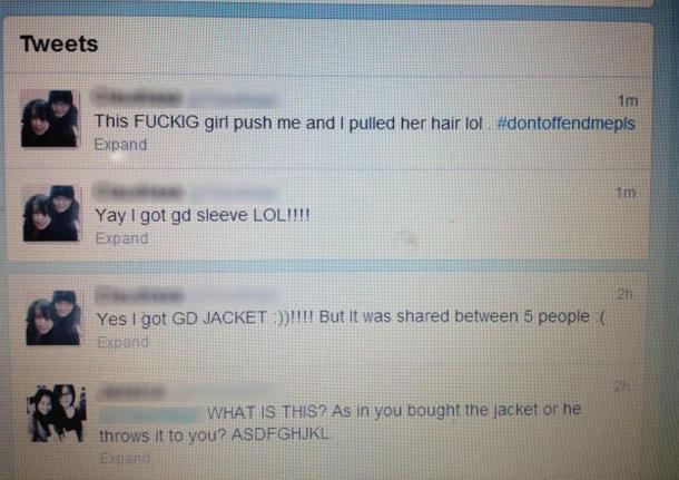 A fan tweets about her experience obtaining GD's jacket sleeve. (Yahoo! photo)