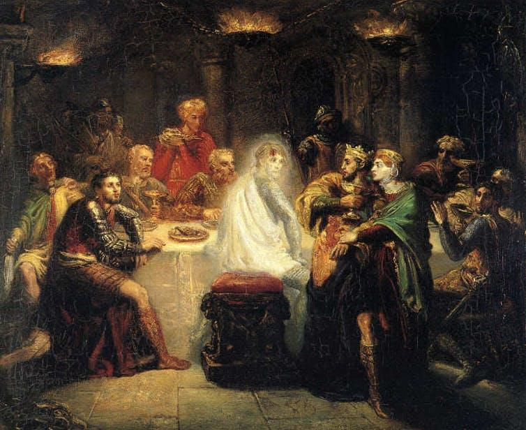 19th-century painting of a ghost at a feast of medieval noblemen and women.