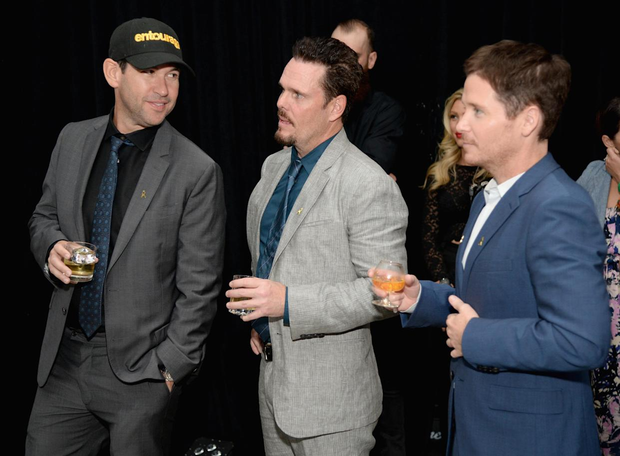 HOLLYWOOD, CA - JUNE 03:  (L-R) Writer/director/producer Doug Ellin and actors Kevin Dillon and Kevin Connolly attend the House Of Walker in celebration of Entourage opening night at Siren Studios on June 3, 2015 in Hollywood, California.  (Photo by Michael Kovac/Getty Images for Johnnie Walker)