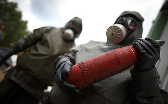 A total of 1,300 metric tonnes of chemical weapons have been removed from Syria (AFP Photo/Philipp Guelland)