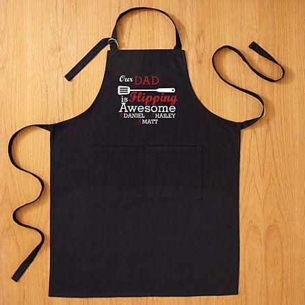 """<p><strong>Personal Creations</strong></p><p>personalcreations.com</p><p><strong>$29.99</strong></p><p><a href=""""https://www.personalcreations.com/product/flipping-awesome-grilling-apron-30201813"""" rel=""""nofollow noopener"""" target=""""_blank"""" data-ylk=""""slk:Shop Now"""" class=""""link rapid-noclick-resp"""">Shop Now</a></p><p>He's flipping awesome at life and more specifically, flipping burgers. You can choose between a """"My Dad"""" or """"Our Dad"""" option if you have siblings, and get your names all stitched into this personalized apron.</p>"""