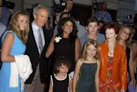 <p>The actor at the premiere of <em>Space Cowboys </em>with five of his children, his current wife, and his ex-girlfriend, Frances Fisher.</p>