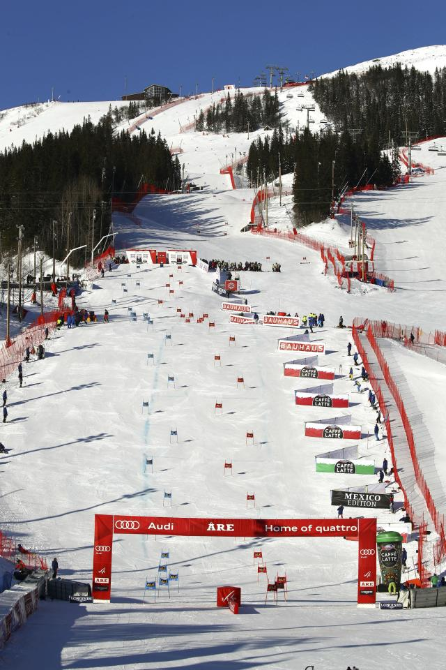 A view of the course of the Team Event, at the alpine ski World Cup finals in Are, Sweden, Friday, March 16, 2018. (AP Photo/Marco Trovati)