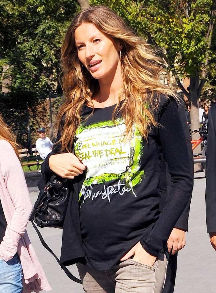 "Gisele Bundchen's main squeeze, Tom Brady, revealed her pregnancy on ESPN. Since the supermodel is due to give birth at the end of the year -- during football season -- the Patriots quarterback joked, ""I told her, no Sundays!"" OAK/<a href=""http://www.x17online.com"" target=""new"">X17 Online</a> - September 19, 2009"