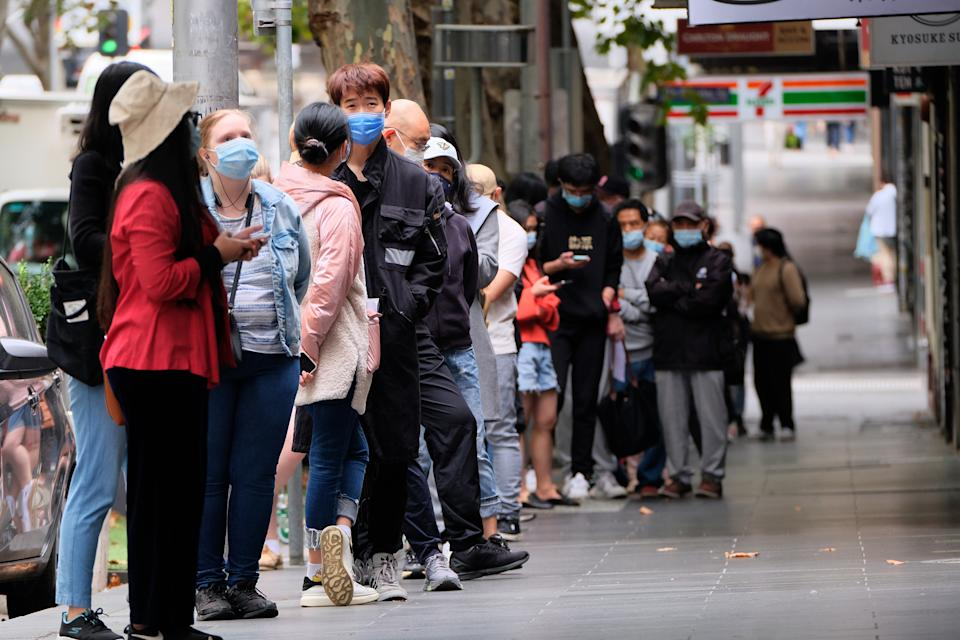 Melbournians line up to be tested for Covid 19 in Melbourne.