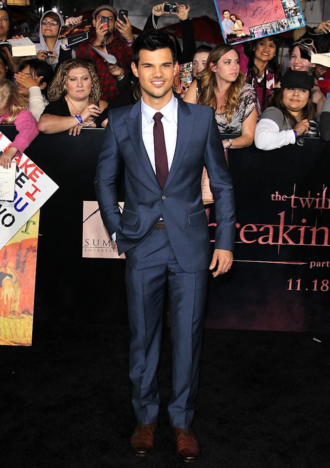 "<a href=""http://movies.yahoo.com/movie/contributor/1808598632"">Taylor Lautner</a> at the Los Angeles premiere of <a href=""http://movies.yahoo.com/movie/1810158314/info"">The Twilight Saga: Breaking Dawn - Part 1</a> on November 14, 2011."