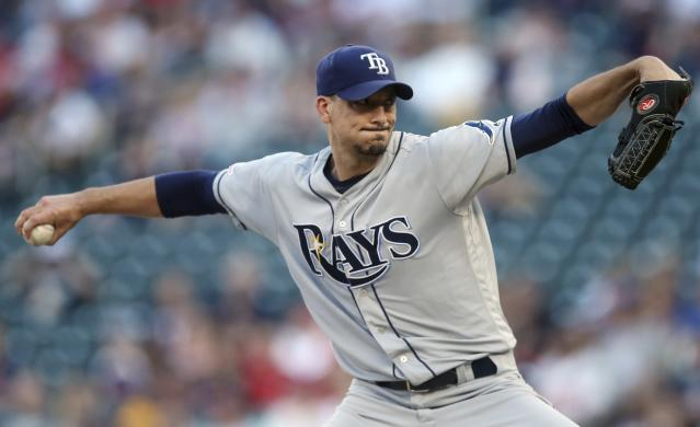 Tampa Bay Rays pitcher Charlie Morton throws to a Minnesota Twins during the first inning of a baseball game Wednesday, June 26, 2019, in Minneapolis. (AP Photo/Jim Mone)