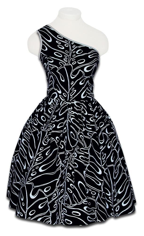 <p>Named after the lush green plant common in many tropical areas, Shaheen uses the plant as an abstract motif on this 1950's one-shoulder dress.</p>