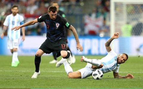 <span>Nicolas Otamendi was nowhere near the ball on this one. Mario Mandzukic bore the brunt.</span> <span>Credit: Gabriel Rossi/Getty Images </span>