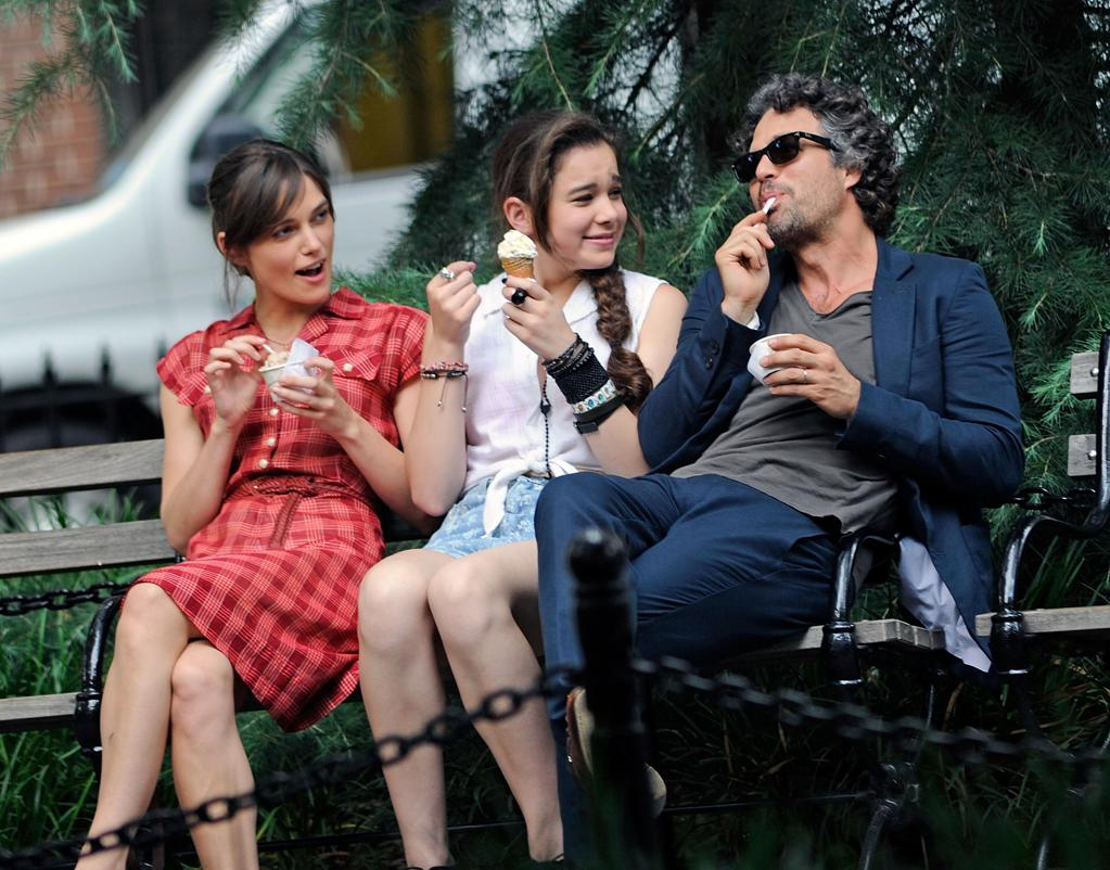 """Keira Knightley, Hailee Steinfeld and Mark Ruffalo on location for """"Can A Song Save Your Life?"""" on the Streets of Manhattan on July 18, 2012 in New York City."""