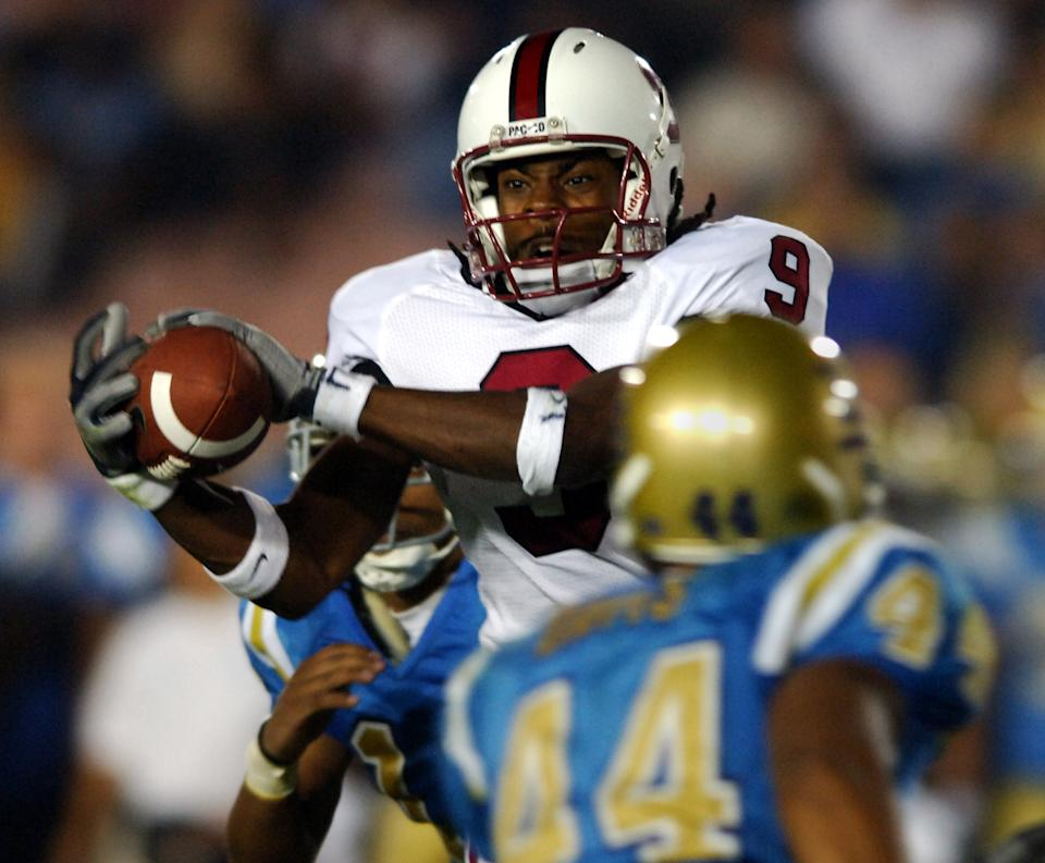 Stanford receiver Richard Sherman catches a pass during 31-0 loss to UCLA in Pacific-10 Conference game at the Rose Bowl in Pasadena, Calif. on Saturday, September 30, 2006. (Photo by Kirby Lee/Getty Images)