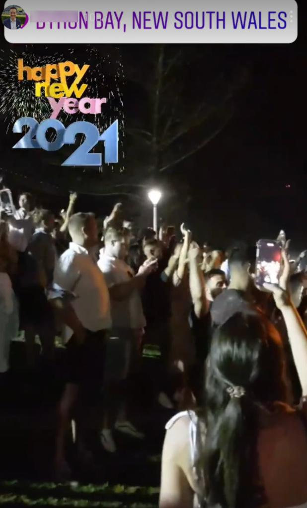 Thousands gathered at Apex Park in Byron Bay to celebrate the new year. Source: Instagram