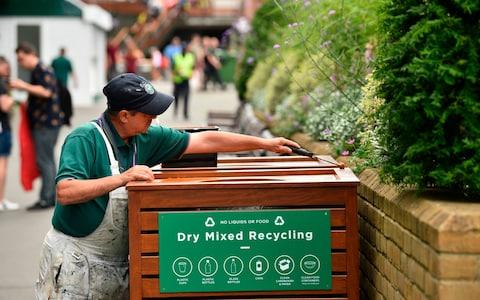 There is a new two-stream litter and recycling system in place - Credit: GLYN KIRK/AFP