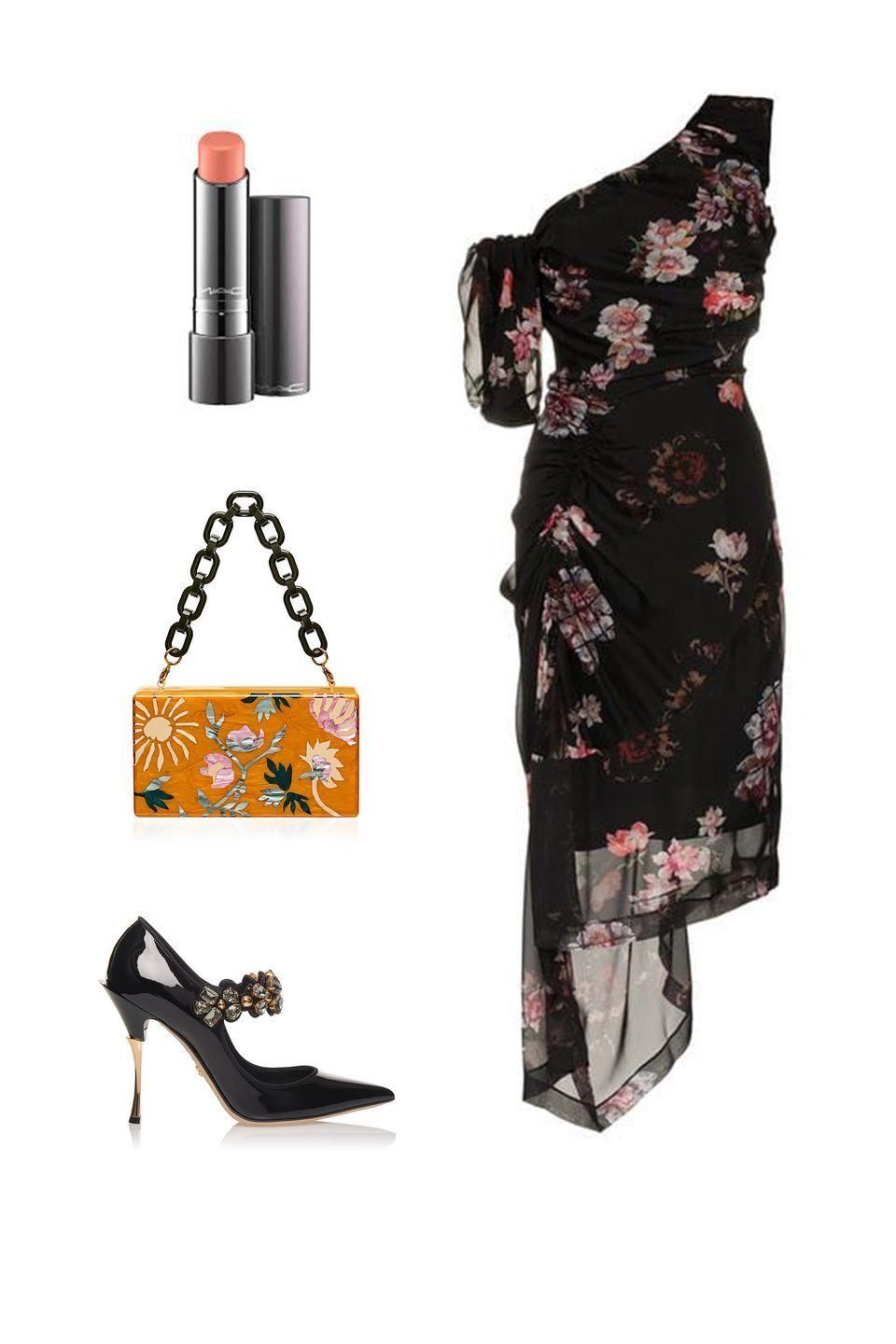 """<p>Ground what were once summer florals with darker, more substantial accessories to make dresses you wore with pop-colors for warm weather weddings appropriate for an autumnal affair. Set an autumnal vibe with a natural, plumping lip color.</p><p><em><strong>Preen by Thorton Bregazzi </strong>dress, $1,059, <a rel=""""nofollow noopener"""" href=""""https://www.farfetch.com/shopping/women/preen-by-thornton-bregazzi-ada-floral-print-one-shoulder-silk-dress-item-13155908.aspx?storeid=9359&from=listing&tglmdl=1"""" target=""""_blank"""" data-ylk=""""slk:farfetch.com"""" class=""""link rapid-noclick-resp"""">farfetch.com</a>; <strong>MAC Cosmetics</strong> """"Kiss and Cuddle"""" lipstick, $21, <a rel=""""nofollow noopener"""" href=""""https://www.maccosmetics.com/product/13854/58805/products/makeup/lips/lipstick/plenty-of-pout-plumping-lipstick#/shade/Kiss_%26_Cuddle"""" target=""""_blank"""" data-ylk=""""slk:maccosmetics.com"""" class=""""link rapid-noclick-resp"""">maccosmetics.com</a>; <strong>Dolce & Gabbana</strong> pumps, $1,195, <a rel=""""nofollow noopener"""" href=""""https://www.modaoperandi.com/dolce-gabbana-pf18/crystal-embellished-patent-leather-pumps"""" target=""""_blank"""" data-ylk=""""slk:modaoperandi.com"""" class=""""link rapid-noclick-resp"""">modaoperandi.com</a>.</em></p>"""