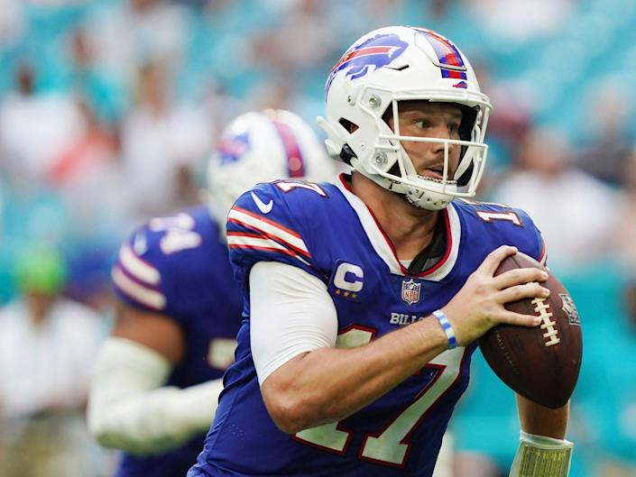 Josh Allen makes a play against the Miami Dolphins.