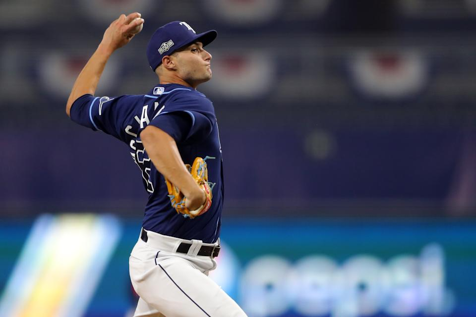 SAN DIEGO, CA - OCTOBER 05:  Shane McClanahan #62 of the Tampa Bay Rays makes his Major League Baseball debut during Game 1 of the ALDS between the New York Yankees and the Tampa Bay Rays at Petco Park on Monday, October 5, 2020 in San Diego, California. (Photo by Alex Trautwig/MLB Photos via Getty Images)