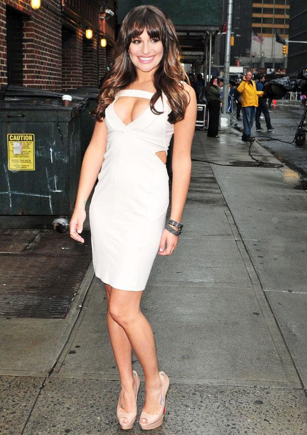 Lea Michele Flaunts Her Curves In A Sexy Cut-Out Dress