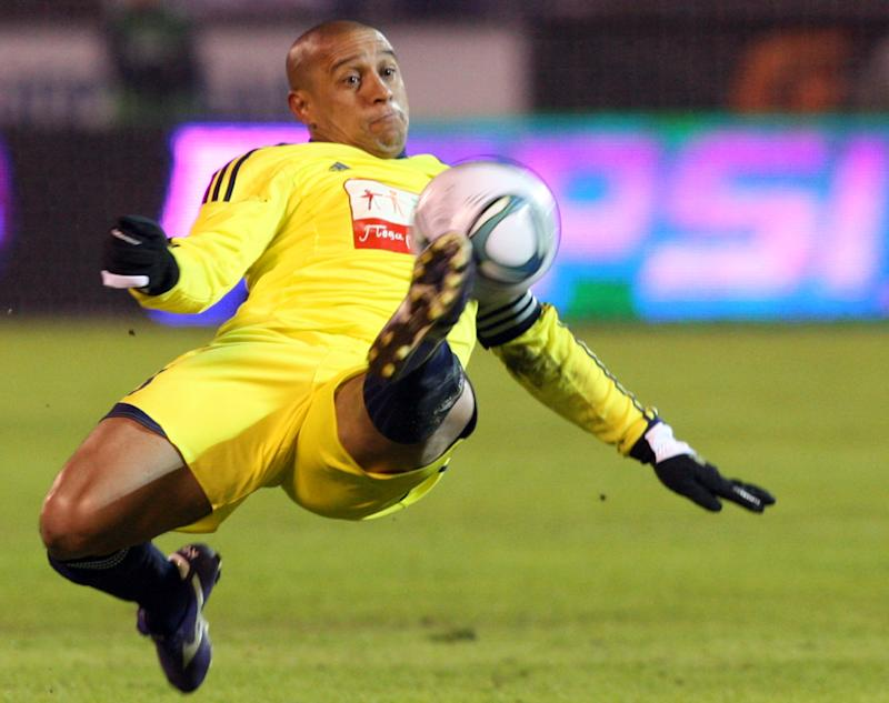 Roberto Carlos in action for Anzhi Makhachkala against Zenit St. Petersburg in St. Petersburg on March 21, 2011