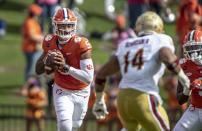 Clemson quarterback D.J. Uiagalelei (5) passes the ball during the first half an NCAA college football game against Boston College on Saturday, Oct. 31, 2020, in Clemson, S.C. (Josh Morgan/Pool Photo via AP)