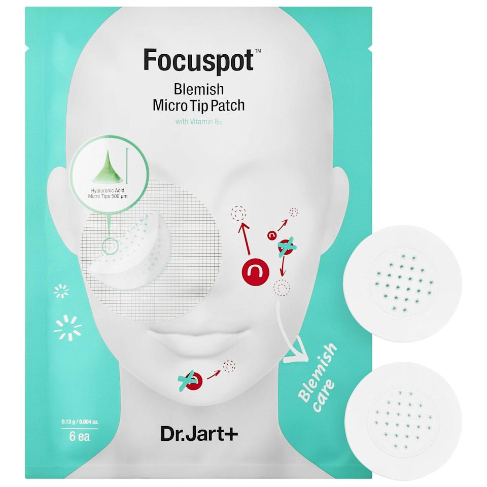 """<p><strong>Item:</strong> <a href=""""https://www.popsugar.com/buy/Dr-Jart-Focuspot-Micro-Tip-Patches-581204?p_name=Dr.%20Jart%2B%20Focuspot%20Micro%20Tip%20Patches&retailer=sephora.com&pid=581204&price=18&evar1=bella%3Aus&evar9=47542758&evar98=https%3A%2F%2Fwww.popsugar.com%2Fphoto-gallery%2F47542758%2Fimage%2F47542761%2FDr-Jart-Focuspot-Micro-Tip-Patches&list1=sephora%2Cacne%2Cbeauty%20review&prop13=api&pdata=1"""" class=""""link rapid-noclick-resp"""" rel=""""nofollow noopener"""" target=""""_blank"""" data-ylk=""""slk:Dr. Jart+ Focuspot Micro Tip Patches"""">Dr. Jart+ Focuspot Micro Tip Patches</a> ($18)<br><br> </p> <p><strong>What our editor said:</strong> """"Whenever I get an annoying zit or dark spot, these nifty little patches always seem to do the trick. They reduce the size of my zit and help make dark spots lighter. I'm hooked."""" - Nikita Ramsinghani, associate editor, Fashion</p> <p>If you want to read more, here is <a href=""""https://www.popsugar.com/smart-living/our-editors-favorite-products-for-winter-2020-47108806"""" class=""""link rapid-noclick-resp"""" rel=""""nofollow noopener"""" target=""""_blank"""" data-ylk=""""slk:the complete review"""">the complete review</a>.</p>"""