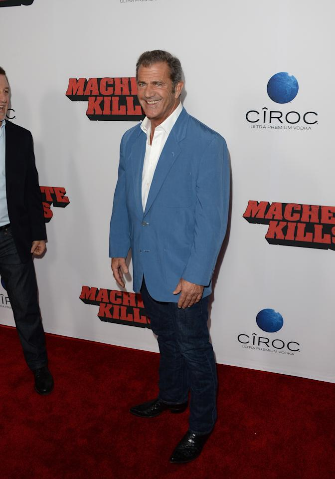 "LOS ANGELES, CA - OCTOBER 02: Actor Mel Gibson arrives at the premiere of Open Road Films' ""Machete Kills"" at Regal Cinemas L.A. Live on October 2, 2013 in Los Angeles, California. (Photo by Jason Merritt/Getty Images)"