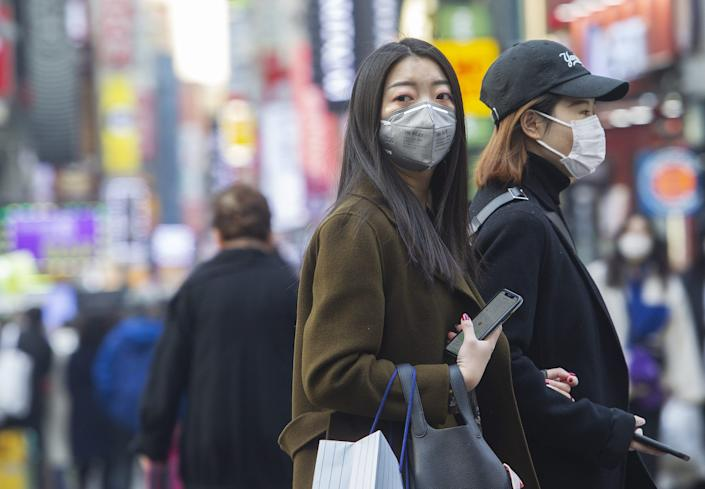 People wearing masks in Seoul, South Korea, on February 20, 2020.