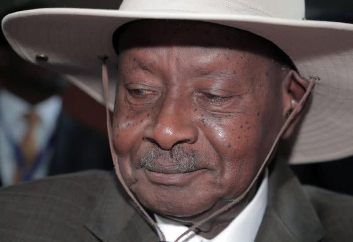 Uganda's President Yoweri Museveni arrives for the opening of the 33rd Ordinary Session of the Assembly of the Heads of State and the Government of the African Union (AU) in Addis Ababa