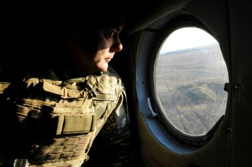 Lieutenant-general Sergiy Nayev commander of the operation against Russian-backed rebels in eastern Ukraine observes from his helicopter military drills near Urzuf village not far from the city of Mariupol