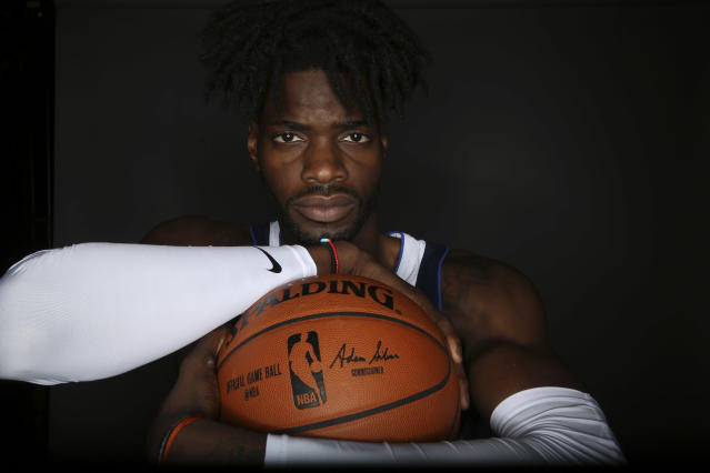 "We haven't seen <a class=""link rapid-noclick-resp"" href=""/nba/players/5157/"" data-ylk=""slk:Nerlens Noel"">Nerlens Noel</a> on a basketball court recently, and we won't be seeing him anytime soon. (AP)"