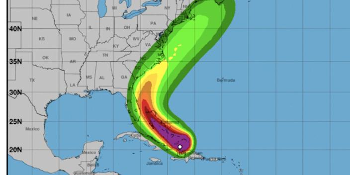 The winds expected from Hurricane Isaias over the next five days as of 2 a.m. EDT on Friday.