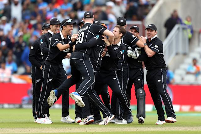 New Zealand celebrate after MS Dhoni is run out (Photo by David Davies/PA Images via Getty Images)