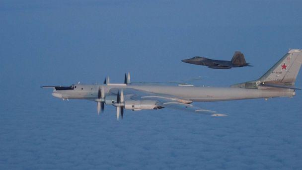 PHOTO: U.S. and Canadian military aircraft intercepted two Russian Tu-95 Bear bombers that entered the Alaskan and Canadian Air Defense Identification Zones on August 8, 2019, according to North American Aerospace Defense Command. (U.S. Defense Department)