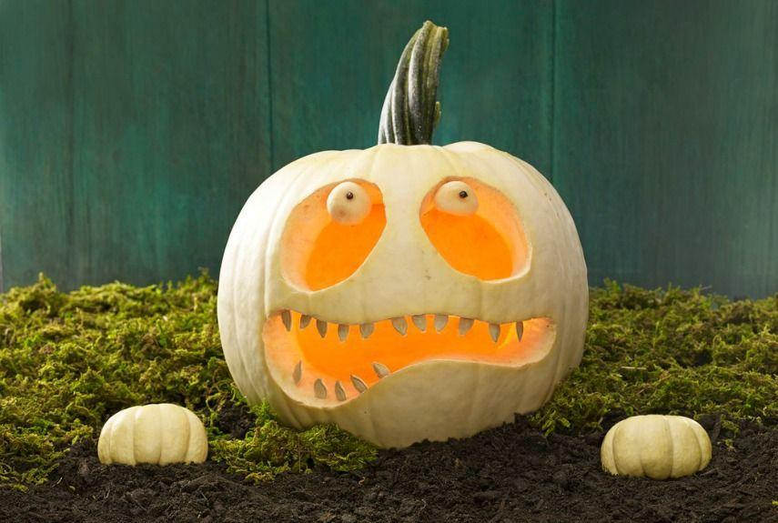 <p>Bring a pumpkin back from the dead by carving a lopsided smile and adding eerie eyeballs (shaped with a melon baller). Place two mini pumpkins close by to look like hands clawing their way from the grave. </p>