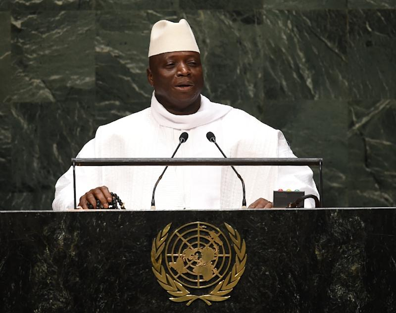 Gambian President Yahya Jammeh addresses the UN General Assembly in New York on September 25, 2014