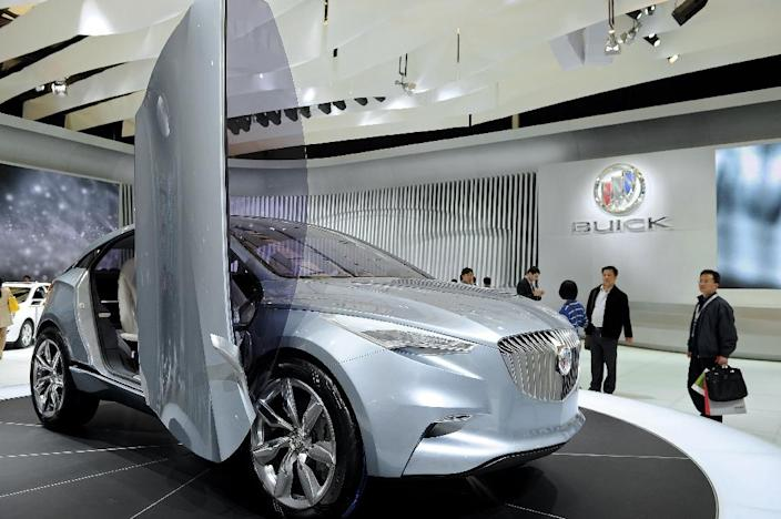 The Buick Envision SUV concept is displayed at the Shanghai Auto Show in Shanghai (AFP Photo/Philippe Lopez)