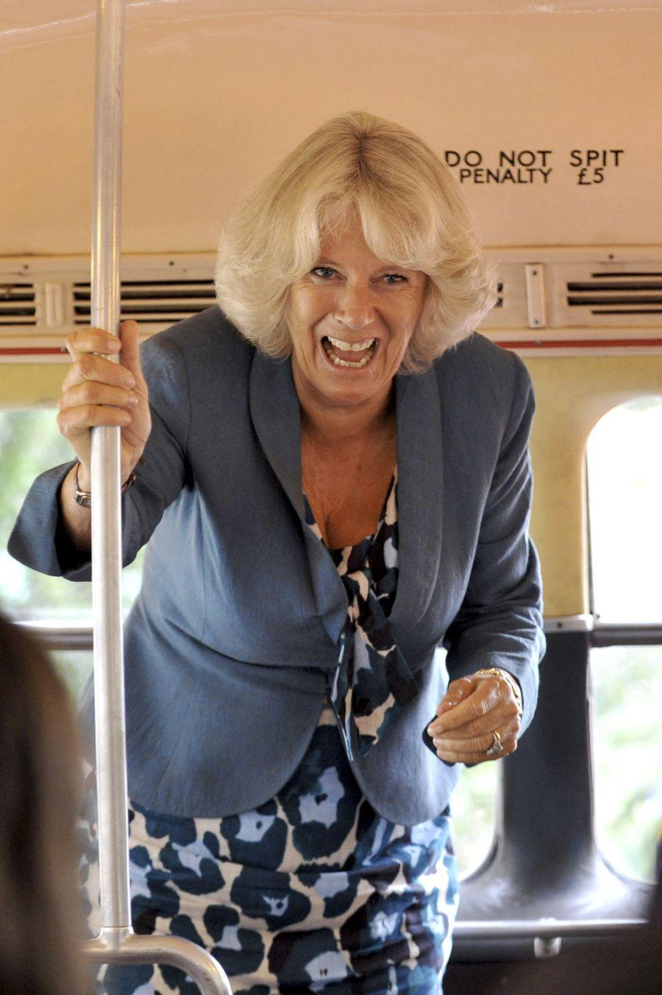 <p>It's not always police escorts and fancy cars. Camilla, Duchess of Cornwall is no stranger to public transportation. Here, she rides the bus for a tour of London's urban gardens. </p>