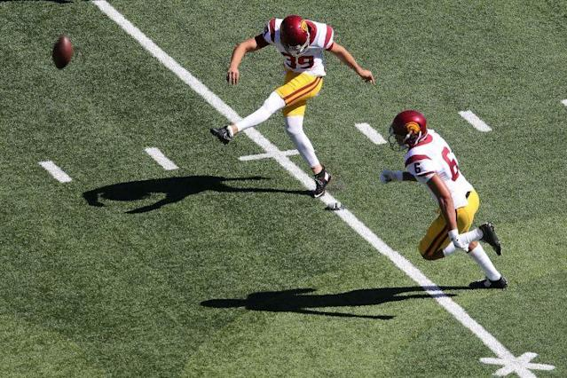 "USC kicker <a class=""link rapid-noclick-resp"" href=""/ncaaf/players/246476/"" data-ylk=""slk:Matt Boermeester"">Matt Boermeester</a> has been suspended from the football team. (Getty)"