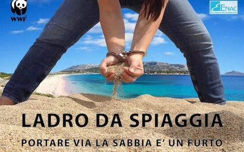 WWF has run a campaign against 'beach thieves', reminding tourists that taking sand from Sardinia's shoreline is a crime