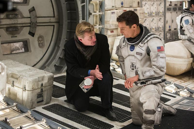 Nolan and Matthew McConaughey on the set of Interstellar (Credit: Warner Bros)